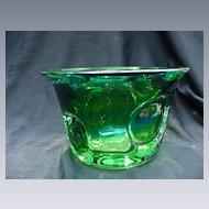 Kosta  Green Art Glass Vase, Bulls Eye Decoration, Signed Warff
