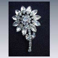 Vintage Rhinestone Flower Pin, Prong-Mounted Stones, Silver Metal Backing