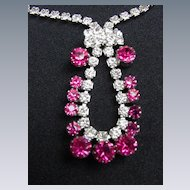 Vintage Ruby Red and Clear Rhinestone Demi-Parure, Necklace and Earrings