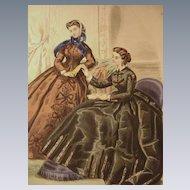 19th C. Le Bon Ton Fashion Print from Journal de Modes, Paris