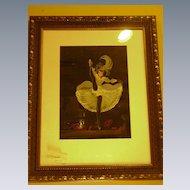 1950's Watercolor, Moulin Rouge Dancer, Artist Signed