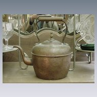 Early Copper Kettle, Rigid Handle, Marked on Base
