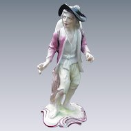 Porcelain Figurine, French Vagabond w Blue Cross Mark at Base