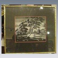Japanese Painting on Silk, River Scene, Boat
