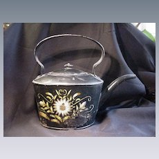 18th C. Toleware Kettle w Flower Decoration, Japanned Body