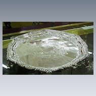 English Silverplated Salver w Engraved Center, Upturned Edge, Three Feet