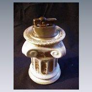 Gold & White Ceramic Table Lighter, Italy, Ionic Column Shape