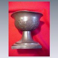 Early Pewter Master Salt on Pedestal Base, Hallmarked