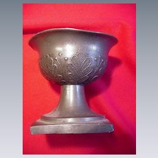 Early Pewter Master Salt on Pedestal Base, Hallmarked