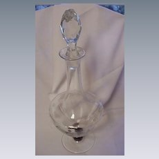 C. 1920-30 Decanter, Faceted Stopper, Faceted Amethyst Stem, Marked Czecho-Slovakia