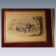 19th C. English Coaching Scene, Hand-Colored Print,  C.B. Newhouse