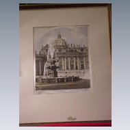 Vintage, Signed Woven Silk Picture of St. Peter's Basilica, Rome