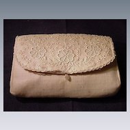 Vintage Clutch Purse, Embroidered Organdy