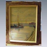 C.T.Stepule, American Artist, Oil, Harbor Scene, Mass.