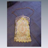 Mesh Purse w Pastel Geometric Design