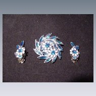 Vintage Sparkling Sapphire Blue & Clear Rhinestone Pin & Earrings