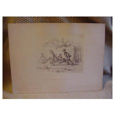 Print of Aus A. Hendschel's Sketchbook Drawing Mounted on Cover Stock