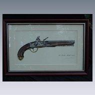 James W. Kalman Flintlock Pistol Signed Print, S. North, Model 1808