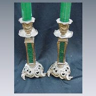 Pair of Antique Brass & Malachite Candlesticks