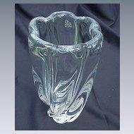 Orrefors Clear Glass Vase, Flared, Scalloped Rim, Heavy Body