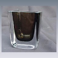 Stromberg Swedish Art Glass Vase, Clear and Amber Rectangular Body