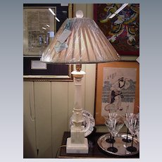 Alabaster Lamp, Classic Column Shape on Square Marble Base