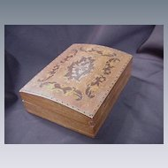 Vintage Inlaid Wood Box with Arched Lid, Intricate Design of String and Marquetry Inlay