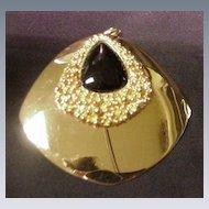 Napier Gold Tone Metal Pendant  w Black Enamel Teardrop Center