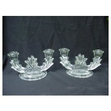 Clear Elegant Glass Baroque Double Candlesticks w Etched Flowers by Fostoria