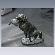 Vintage Bronze Retriever Dog w Bird in Mouth