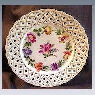 Eight Schierholz Porcelain Dessert Plates, Lattice Borders,  Floral Center, Germany