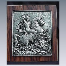 Vintage Relief Plaque, Silvertone, St. George Slaying the Dragon