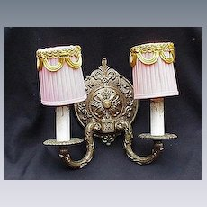 Vintage Two-Light, Electrified, Metal Wall Sconce w Pink Shades