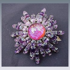 Amethyst-Colored Starburst Pin, Prong Mounted Stones, 1940s