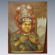 Vintage Figural Study, Oil on Board, of Southeast Asian  Hill Tribe Weaver