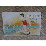 Humorous Postcard of Bathing Beauty, 1930s