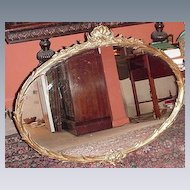 Vintage 1930s Gesso and Wood Frame Mirror w Floral, Shell and Foliage Elements