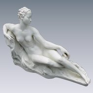 Rosenthal Porcelain Figurine of Reclining Nude, German Sculptor, Bredow