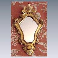 Vintage Giltwood Florentine Mirror, Elaborate Shield-Shaped Body