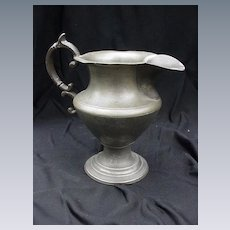 19th C. Pewter Pitcher, Fancy Handle