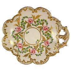 CROWN DERBY King St. 'Rose Barbeau' gilded corner plate
