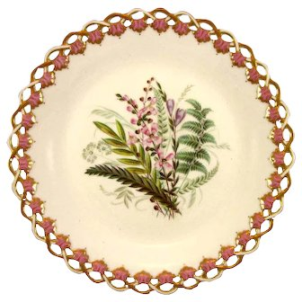 ROYAL WORCESTER c1869 Victorian wild flowers plate #1