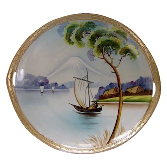 NIPPON MOUNT FUJI c1904 handpainted gilded moriage plate