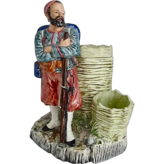 HEUBACH c1880s antique smoking stand Zouave soldier