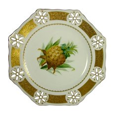 MINTON c1869 antique plate handpainted pineapple pierced gold border G120
