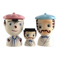HANDPAINTED figural egg cups (2) matching salt c1950s