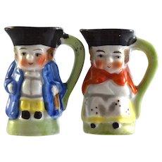"Pair JAPAN Colonial Couple Toby Jugs 2"" miniature figurines"