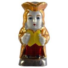 """JAPAN gold luster Toby Jug 2.5"""" miniature figurine"""