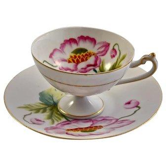 JAPAN MIOJ Cup & Saucer hand painted peony