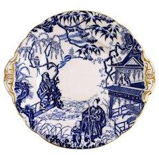 ROYAL CROWN DERBY Blue Mikado round cake plate gold handle c1978